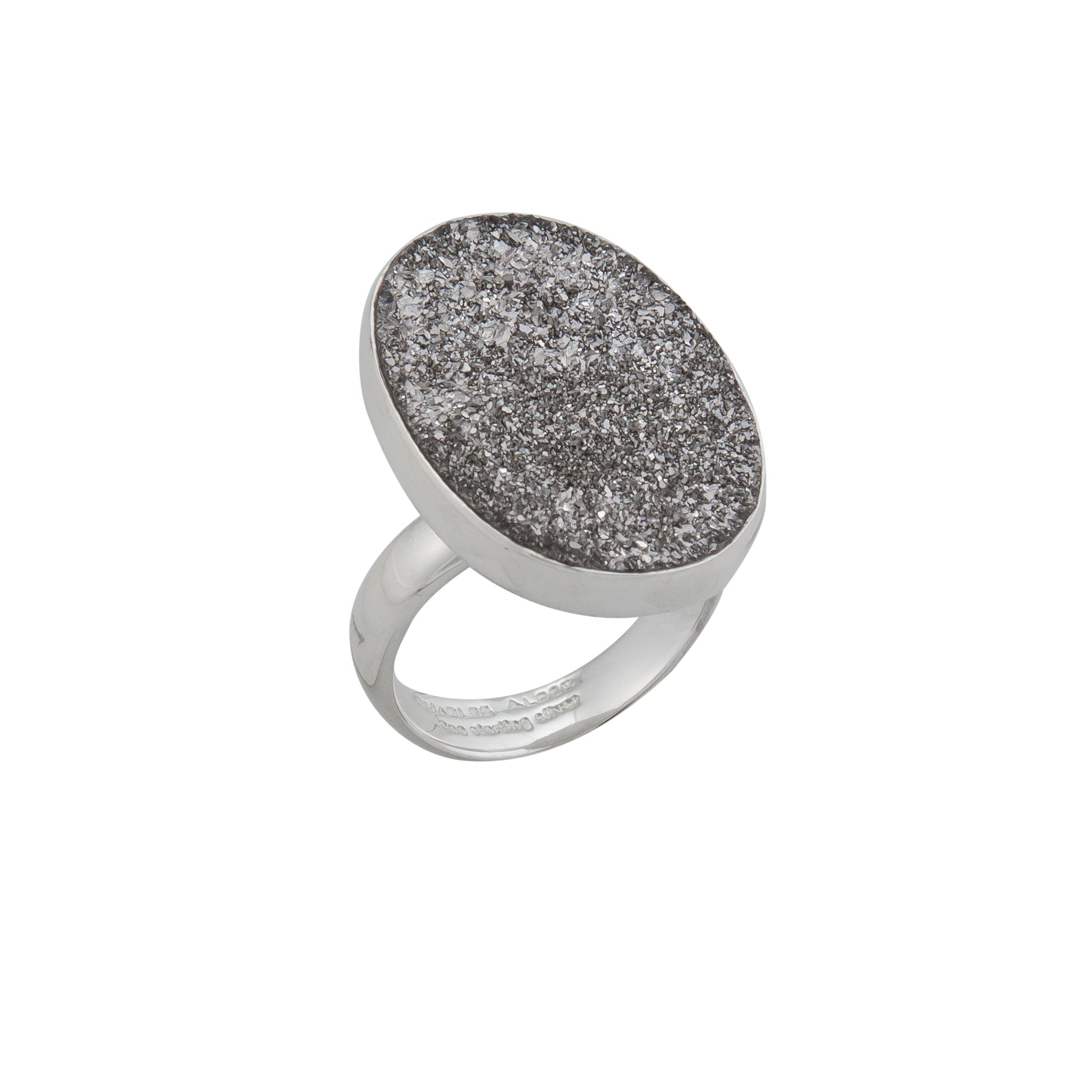 Sterling Silver Oval Platinum Druse Adjustable Ring | Charles Albert Jewelry