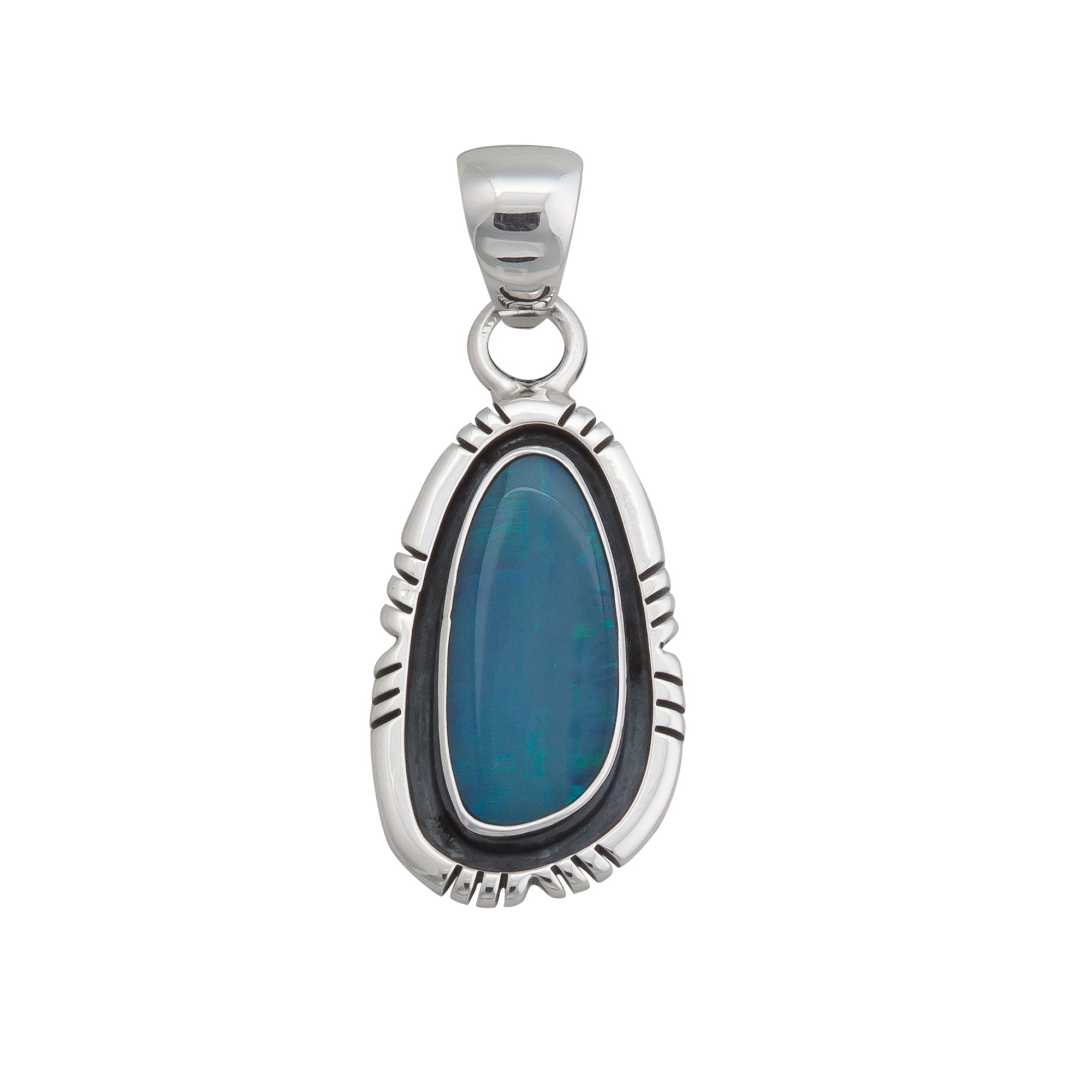 Sterling Silver Opal Pendant with Detailed Edge | Charles Albert Jewelry