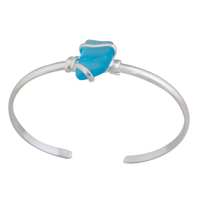 alpaca-recycled-glass-mini-cuff-aqua - 2 - Charles Albert Inc