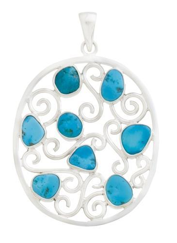 Sterling Silver Sleeping Beauty Turquoise Pendant | Charles Albert Jewelry