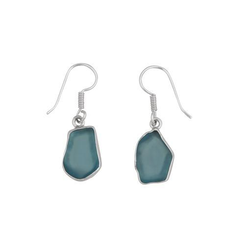 Sterling Silver Aqua Recycled Glass Drop Earring