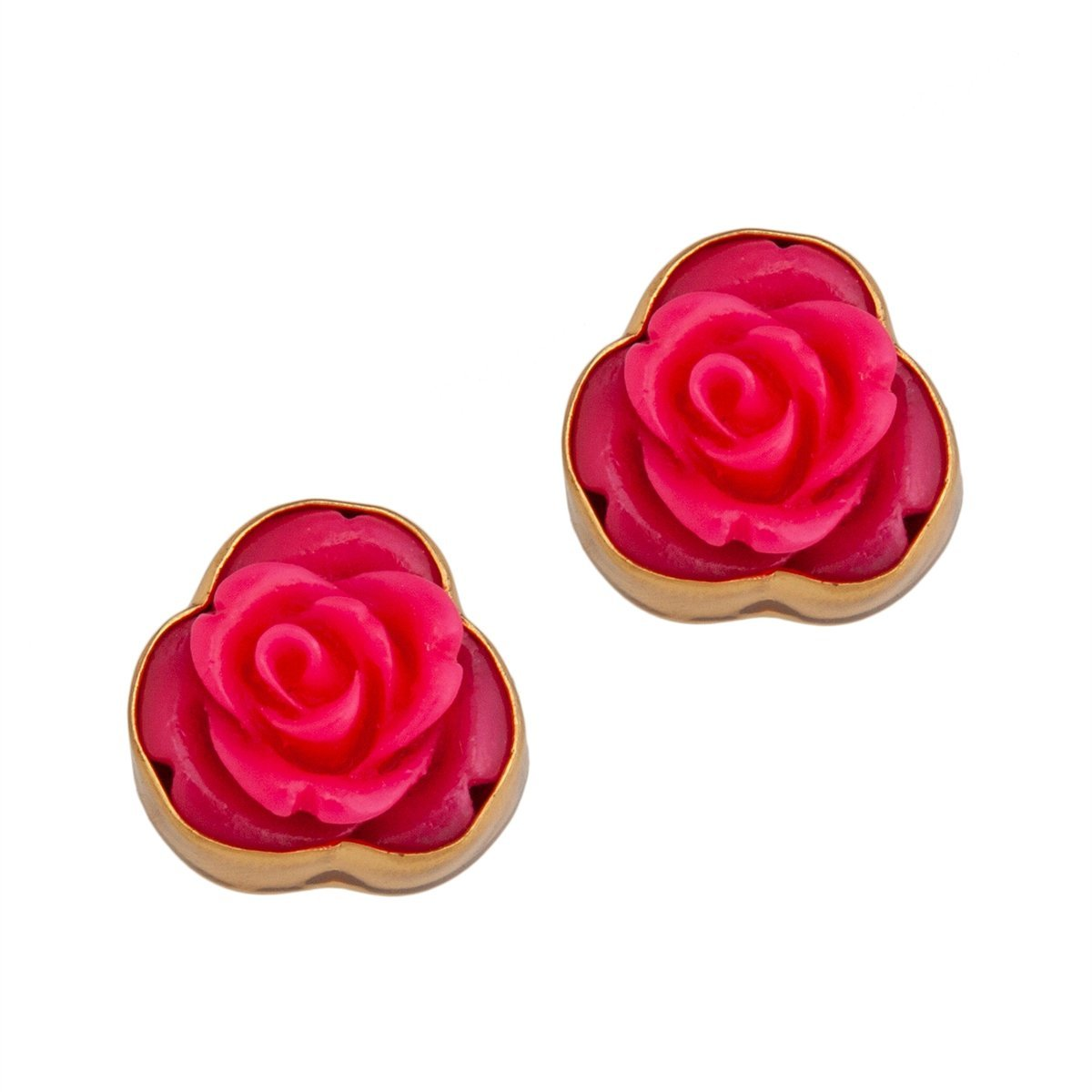 Resin Flower Post Earrings - Pink | Charles Albert Jewelry