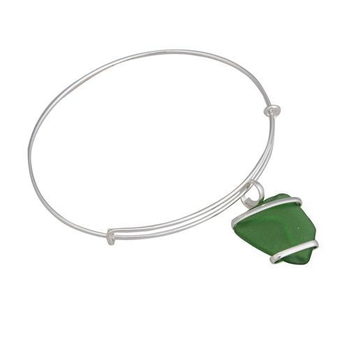 Alpaca Recycled Glass Freeform Adjustable Charm Bangle - Green | Charles Albert Jewelry