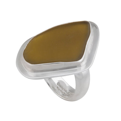 sterling-silver-recycled-olive-glass-adjustable-ring - 2 - Charles Albert Inc