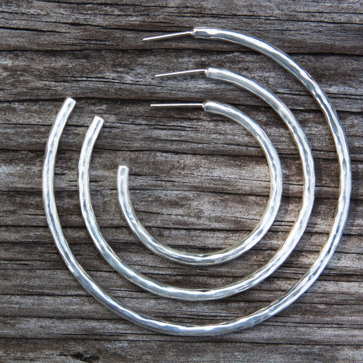 Sterling Silver Hammered Hoop Post Earrings | Charles Albert Jewelry