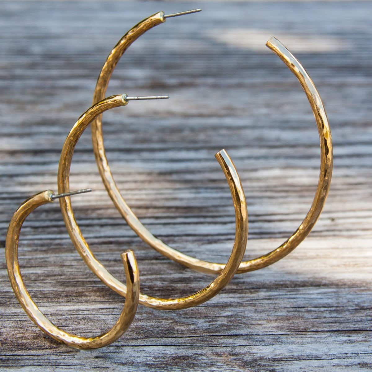 Alchemia Hammered Hoop Post Earrings | Charles Albert Jewelry