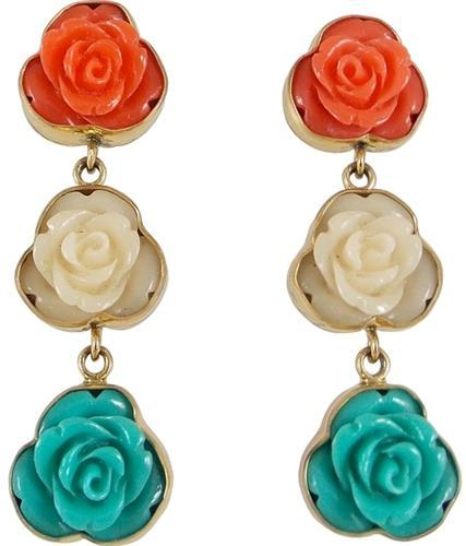 alchemia-resin-flower-triple-earrings - 1 - Charles Albert Inc