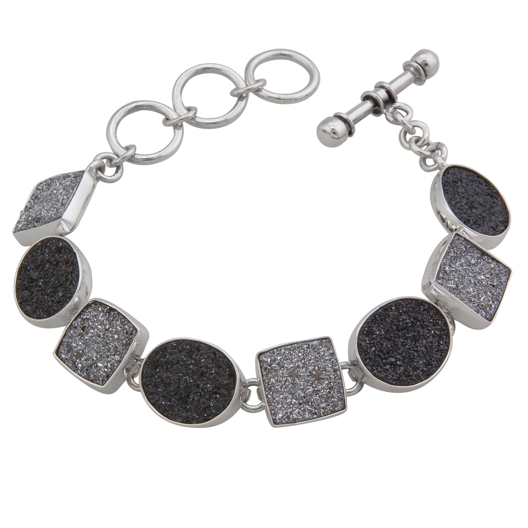 Sterling Silver Black and Platinum Druse Bracelet | Charles Albert Jewelry
