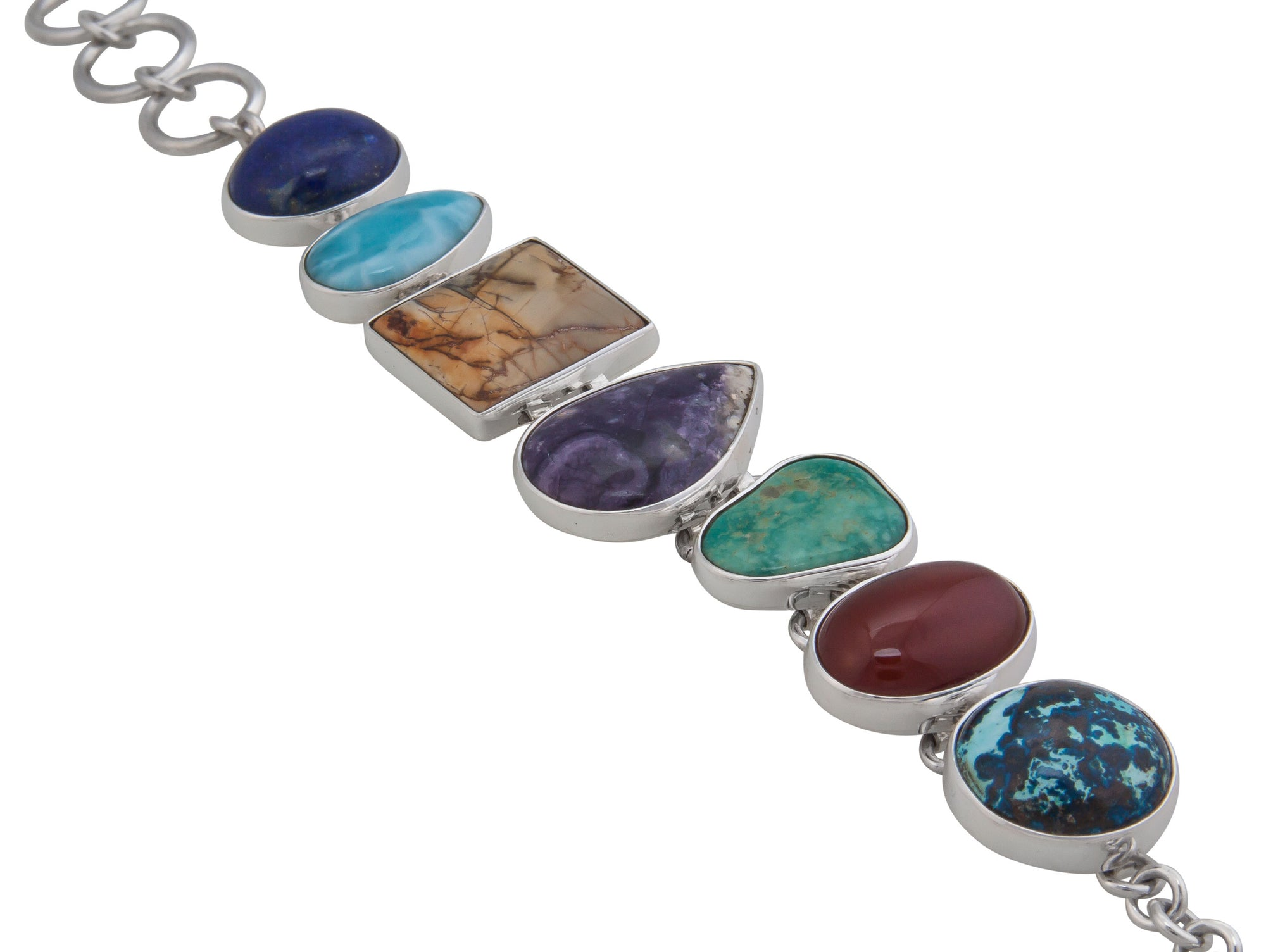 Sterling Silver Multi Natural Stone Bracelet | Charles Albert Jewelry