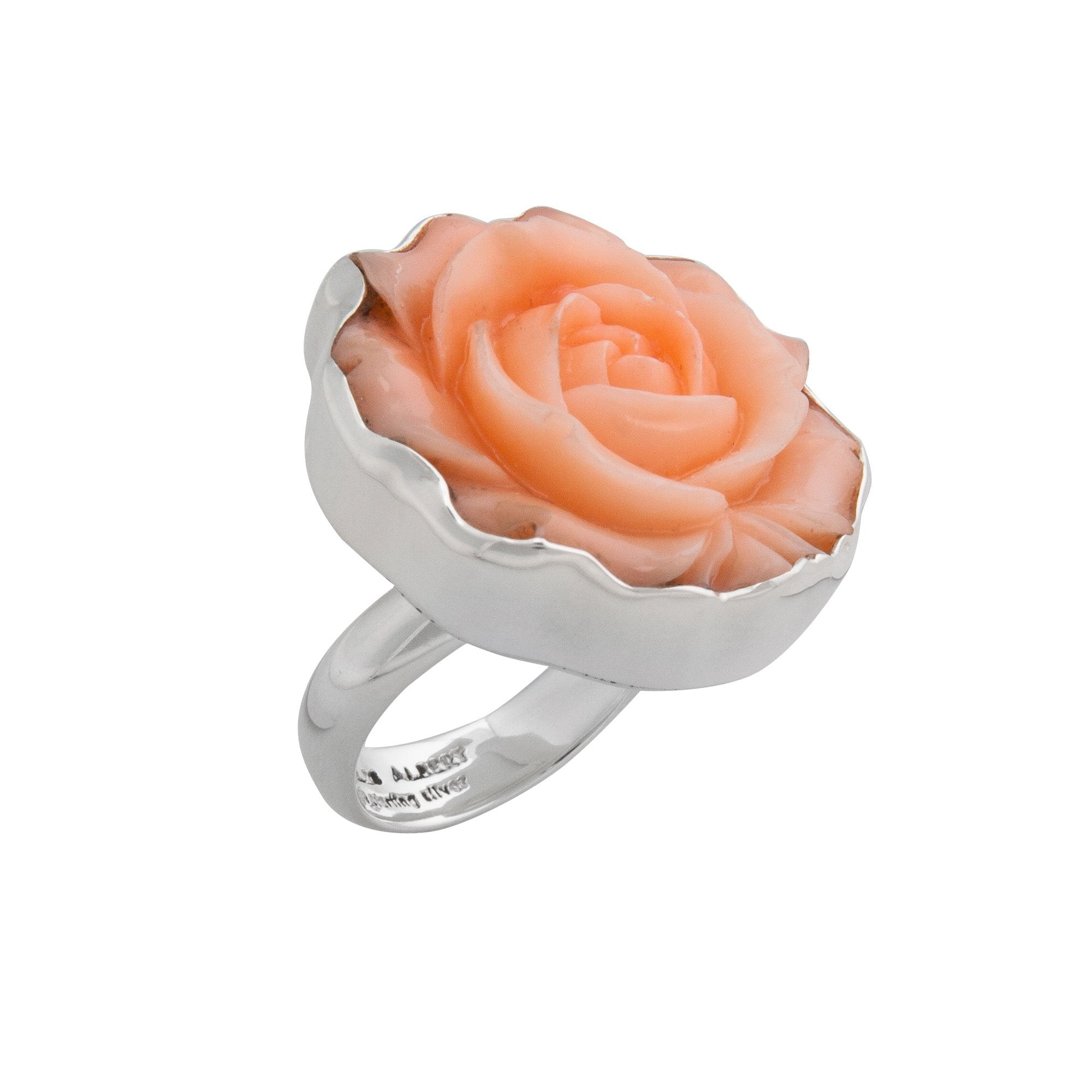 Sterling Silver Coral Resin Rose Adjustable Ring | Charles Albert Jewelry