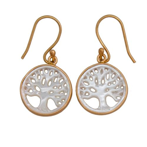 Alchemia Mother Of Pearl Tree Of Life Drop Earrings | Charles Albert Jewelry