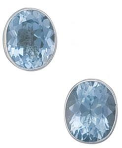 Sterling Silver Oval Blue Topaz Clip Earrings