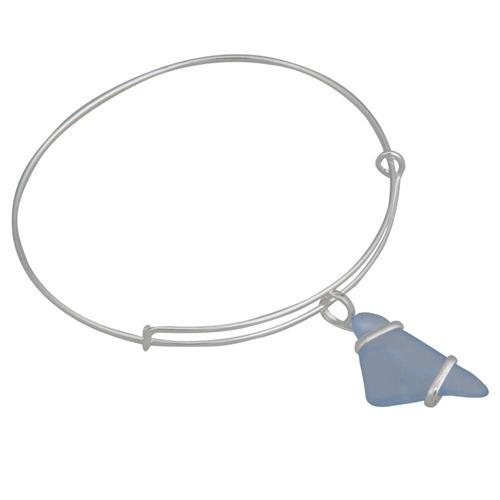 Alpaca Recycled Glass Freeform Adjustable Charm Bangle - Carolina Blue | Charles Albert Jewelry