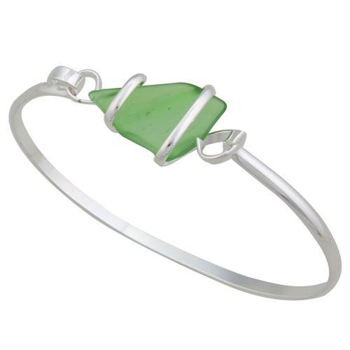 Alpaca Recycled Glass Freeform Bangles - Green