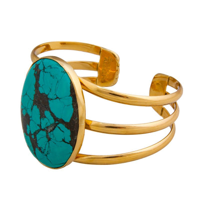 alchemia-oval-turquoise-3-band-cuff - 2 - Charles Albert Inc