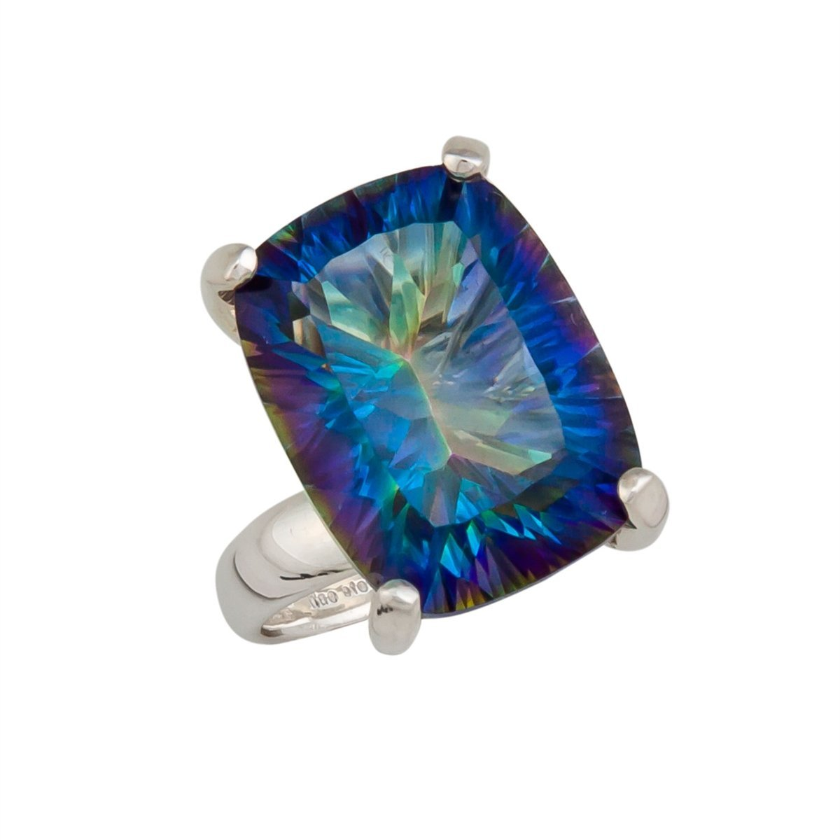 Sterling Silver Mystic Quartz Prong Set Adjustable Ring | Charles Albert Jewelry