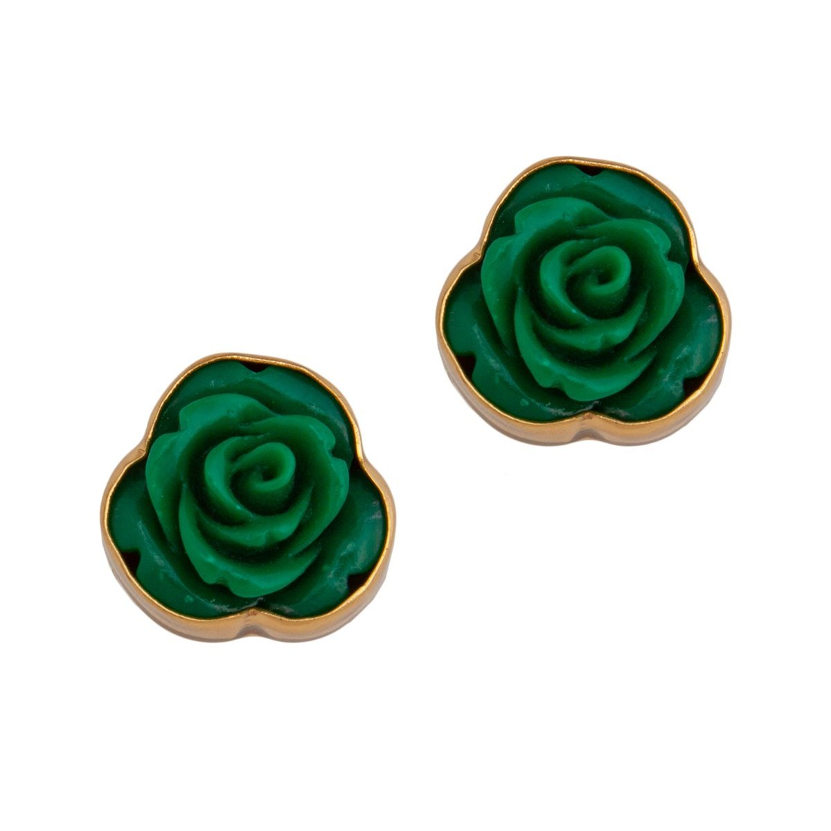 Resin Flower Post Earrings - Green | Charles Albert Jewelry