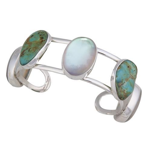 Sterling Silver Luminite & Campo Frio Turquoise Cuff | Charles Albert Jewelry