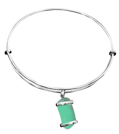 alpaca-recycled-glass-freeform-adjustable-charm-bangle-mint - 2 - Charles Albert Inc