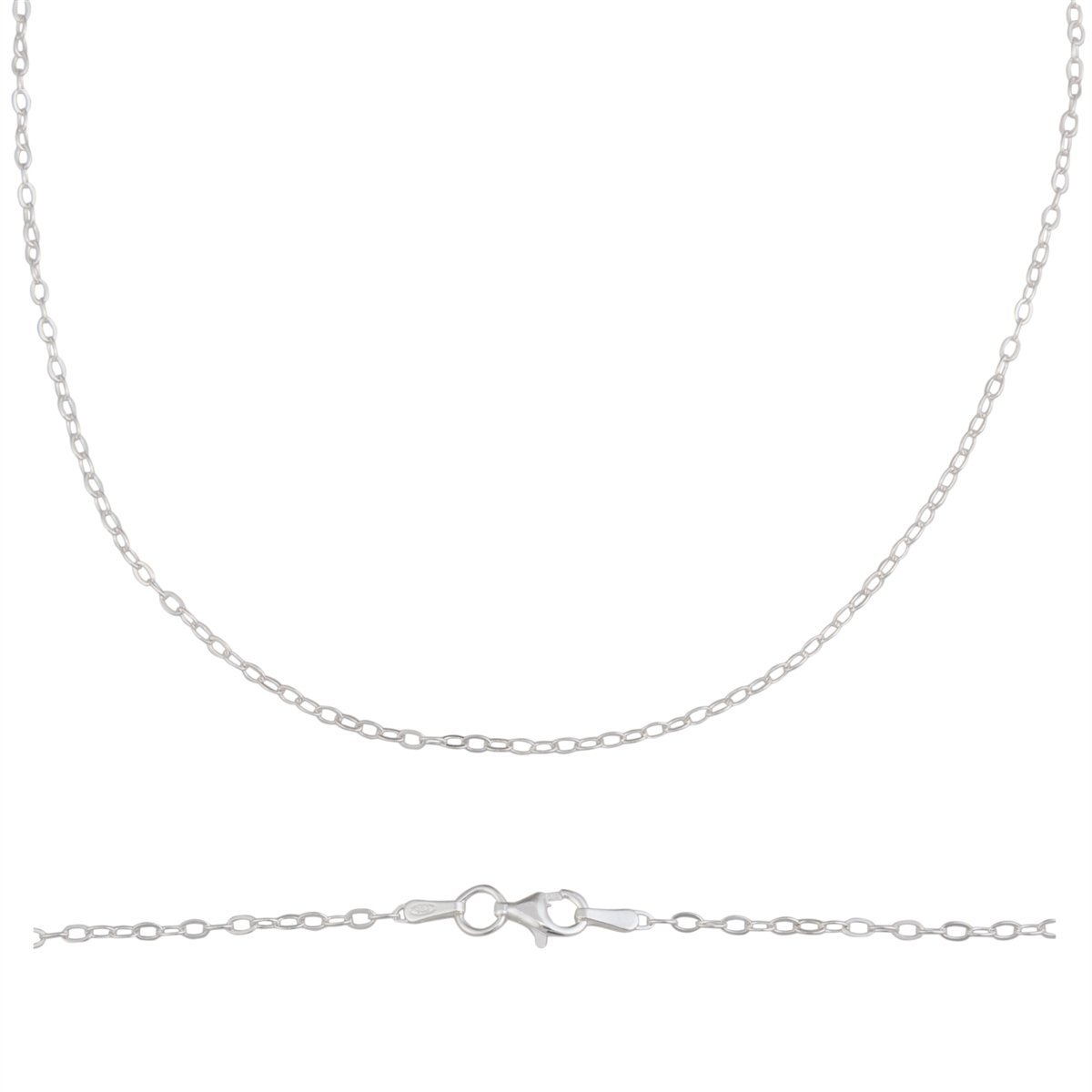 Sterling Silver Thin Drop Oval Link Chain
