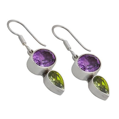 sterling-silver-amethyst-synthetic-peridot-earrings - 2 - Charles Albert Inc