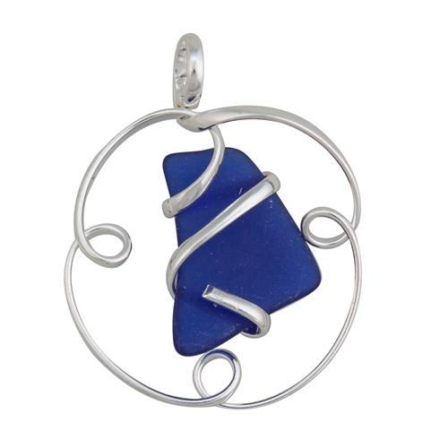 Alpaca Recycled Glass Freeform Pendants - Cobalt Blue