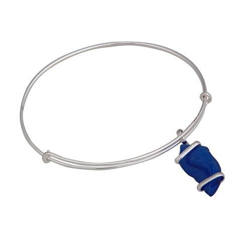 Alpaca Recycled Glass Freeform Adjustable Charm Bangle - Cobalt Blue | Charles Albert Jewelry