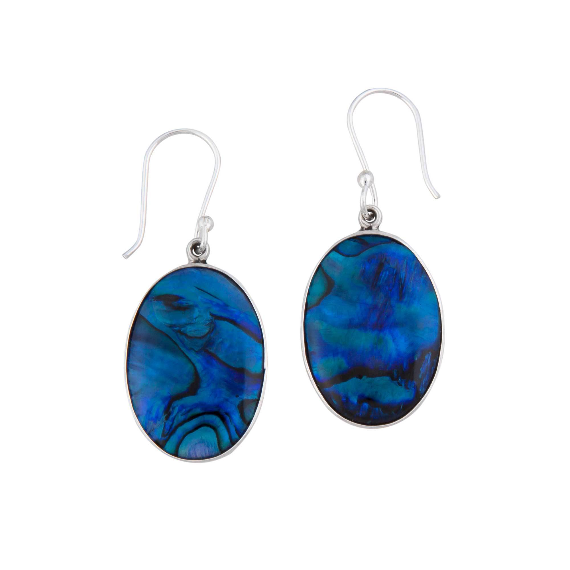 Sterling Silver Blue Abalone Dangle Earrings