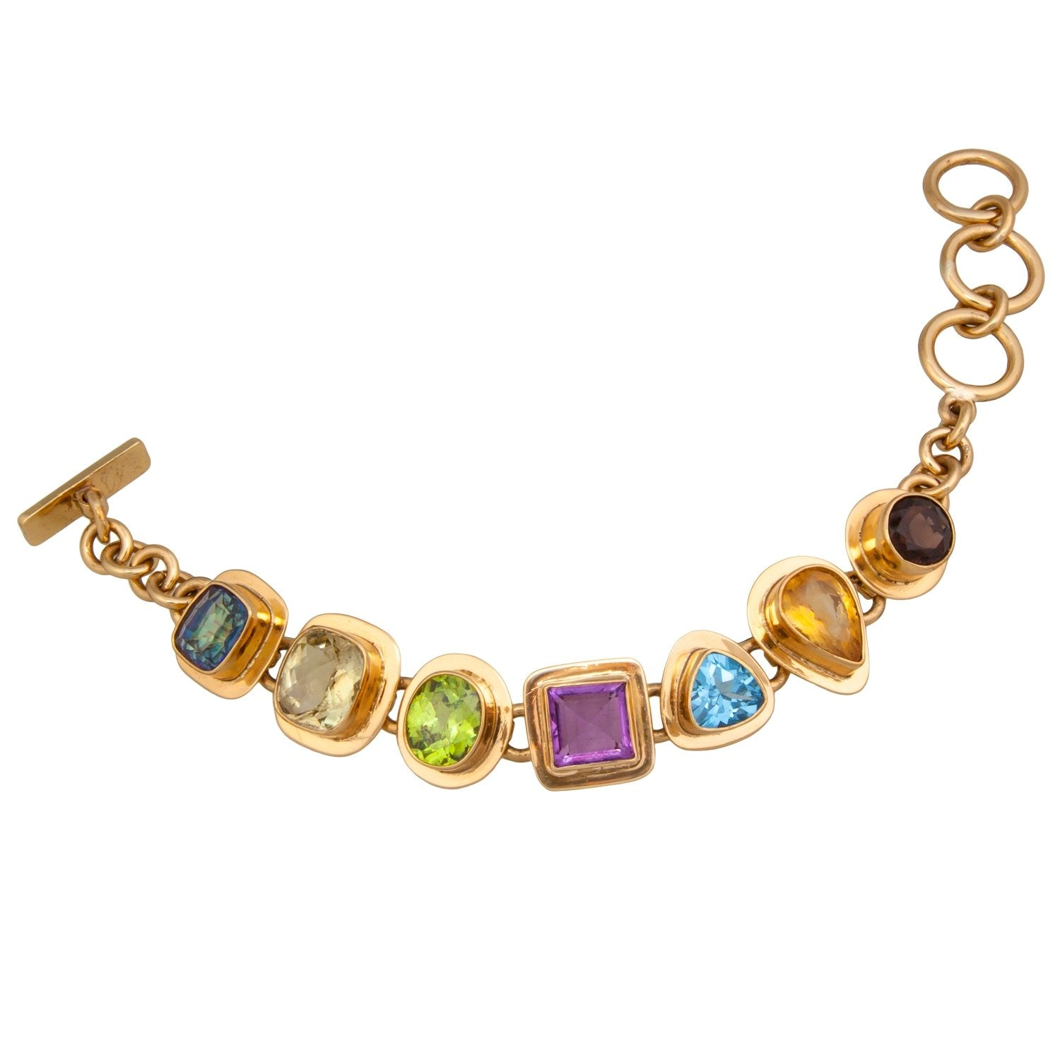 Alchemia Multi-Gemstone Bracelet with Detailed Edge | Charles Albert Jewelry