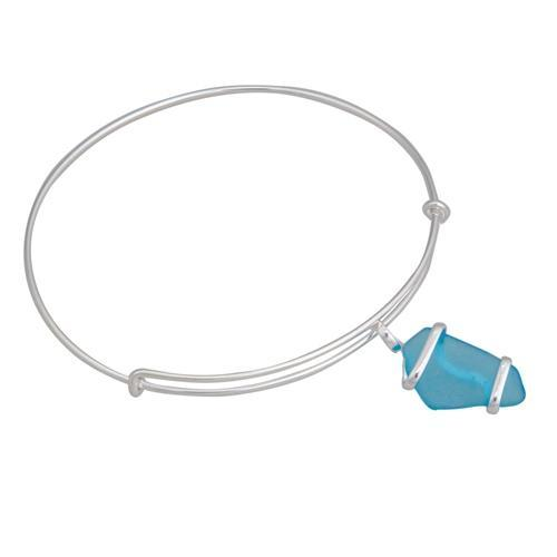 Alpaca Recycled Glass Freeform Adjustable Charm Bangle - Aqua | Charles Albert Jewelry