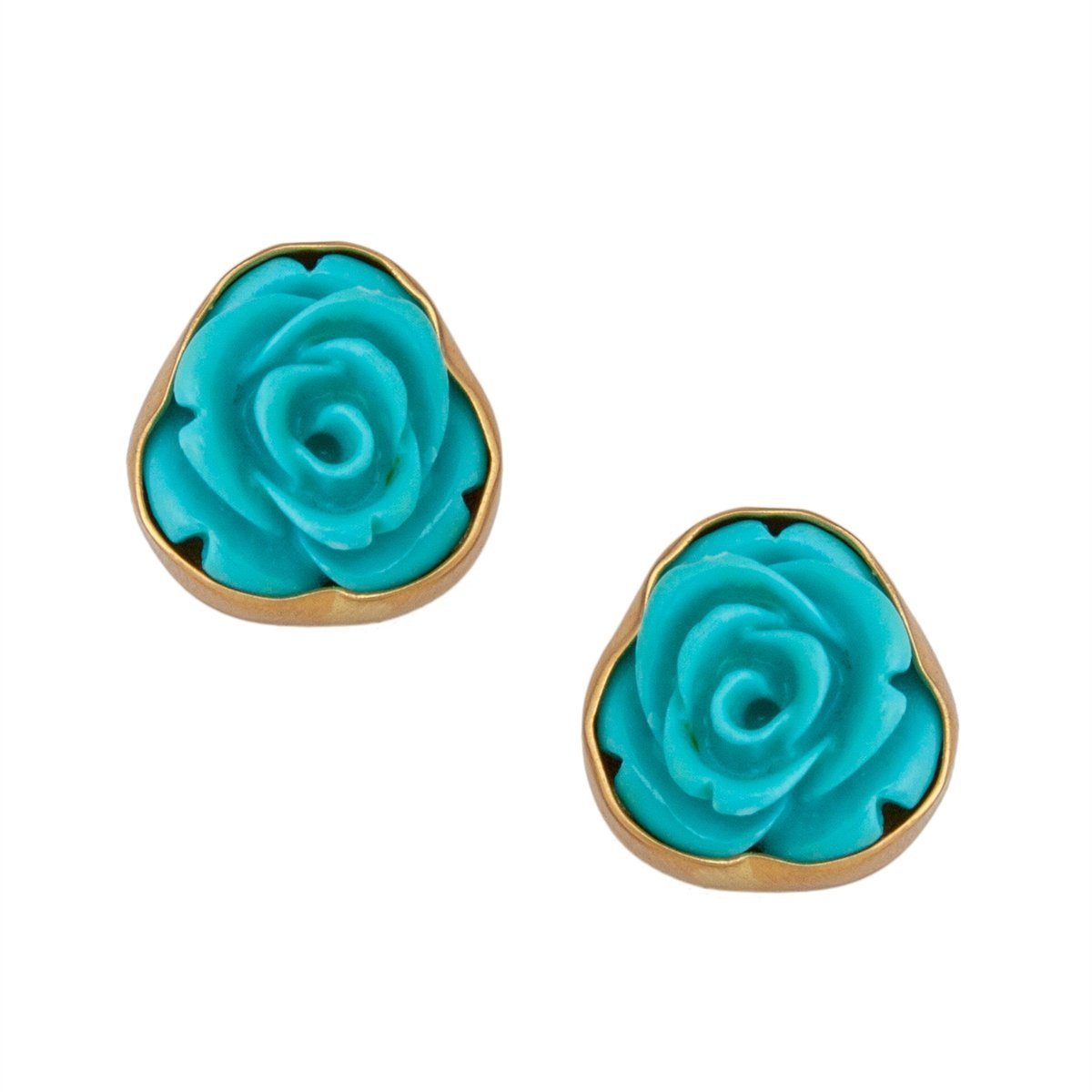Resin Flower Post Earrings - Teal | Charles Albert Jewelry