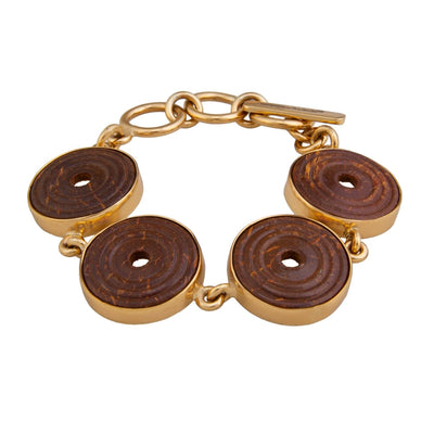 Alchemia Brown Wood Disc Bracelet