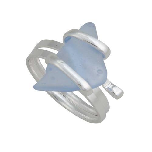 Alpaca Recycled Glass Freeform Rings - Carolina Blue