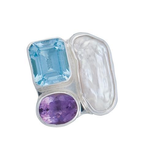 Sterling Silver Blue Topaz, Amethyst & Biwa Pearl Adjustable Ring