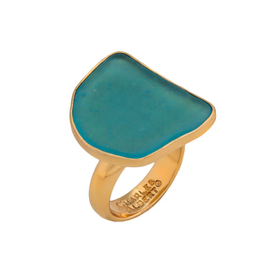 Alchemia Aqua Recycled Glass Adjustable Ring