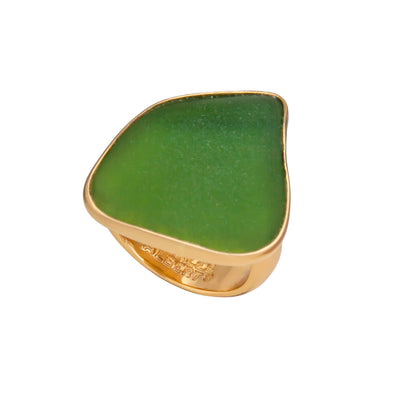 Alchemia Green Recycled Glass Adjustable Ring