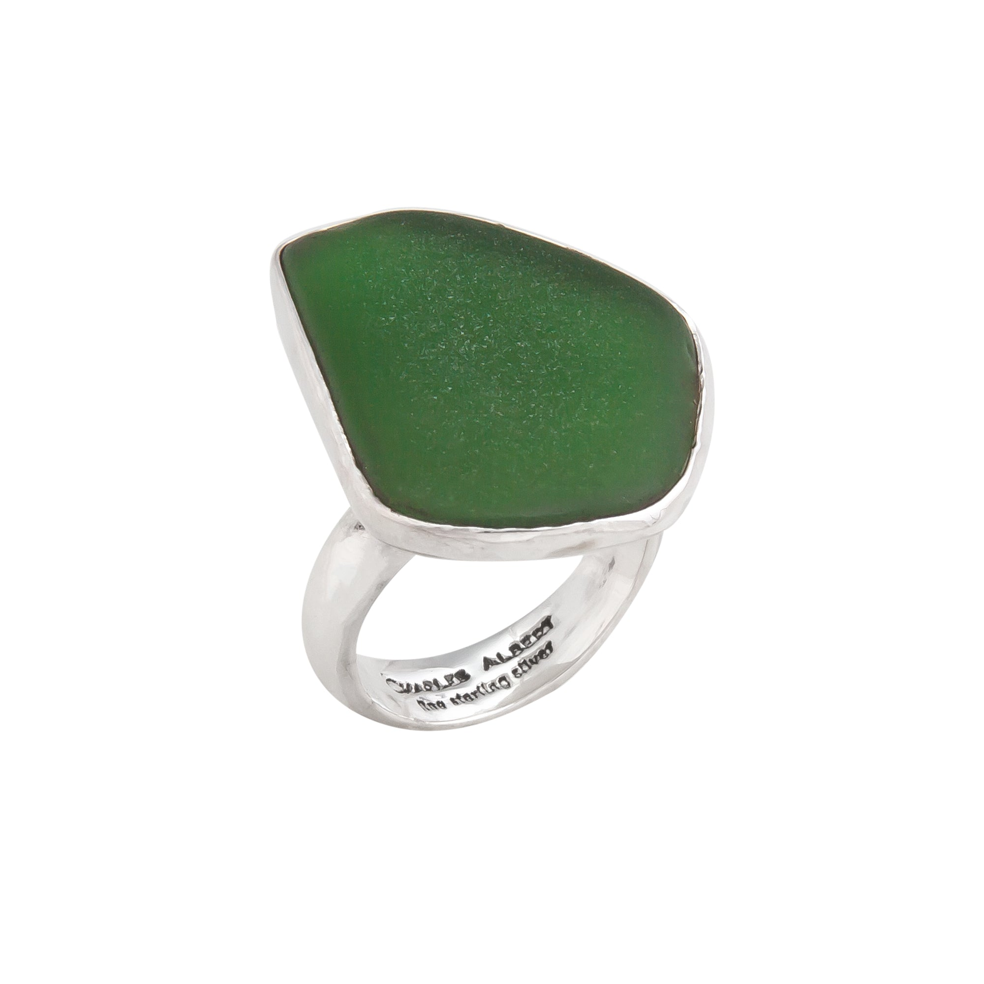 Sterling Silver Green Recycled Glass Adjustable Ring | Charles Albert Jewelry