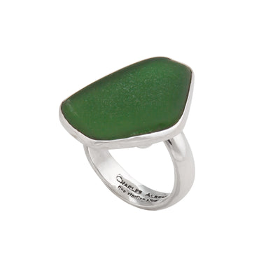 Sterling Silver Green Recycled Glass Adjustable Ring
