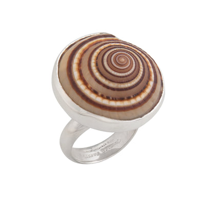 Sterling Silver Sundial Shell Adjustable Ring