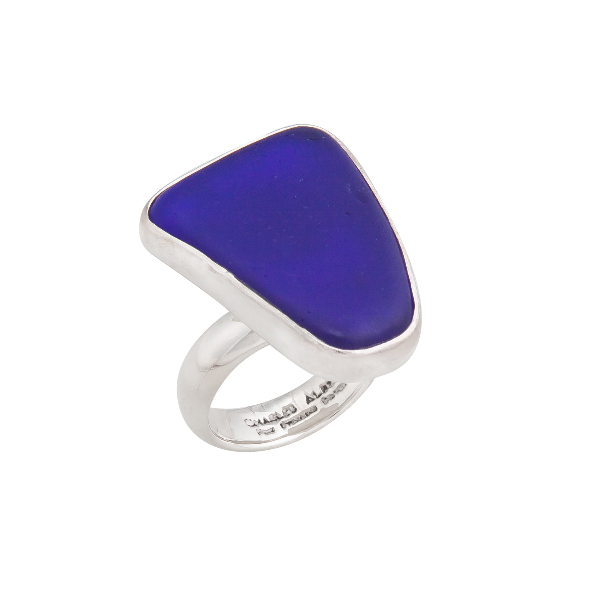 Sterling Silver Cobalt Blue Recycled Glass Adjustable Ring