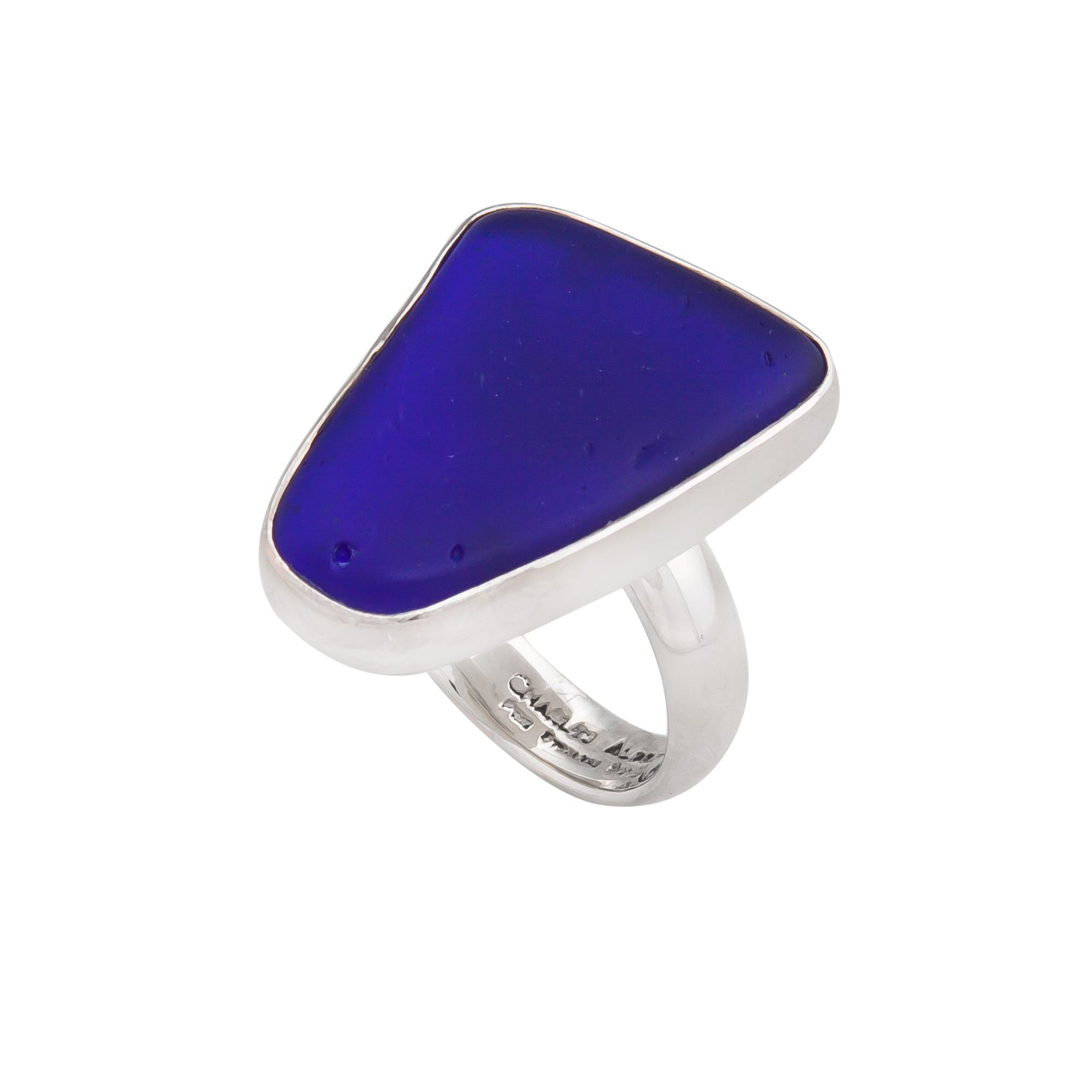 Sterling Silver Cobalt Blue Recycled Glass Adjustable Ring | Charles Albert Jewelry