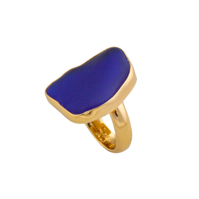 alchemia-cobalt-blue-recycled-glass-adjustable-ring - 3 - Charles Albert Inc