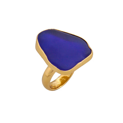 alchemia-cobalt-blue-recycled-glass-adjustable-ring - 2 - Charles Albert Inc