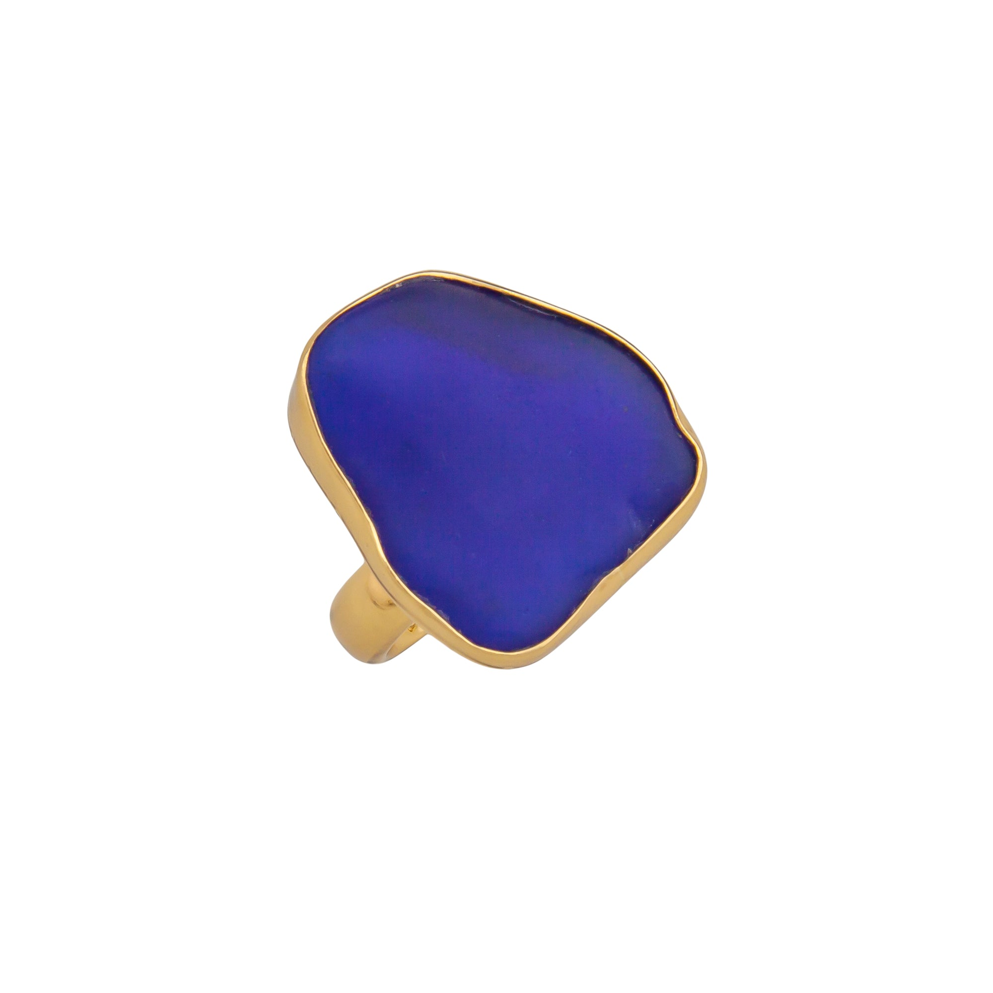alchemia-cobalt-blue-recycled-glass-adjustable-ring - 1 - Charles Albert Inc