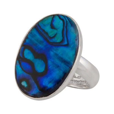 Sterling Silver Abalone Adjustable Ring - Blue