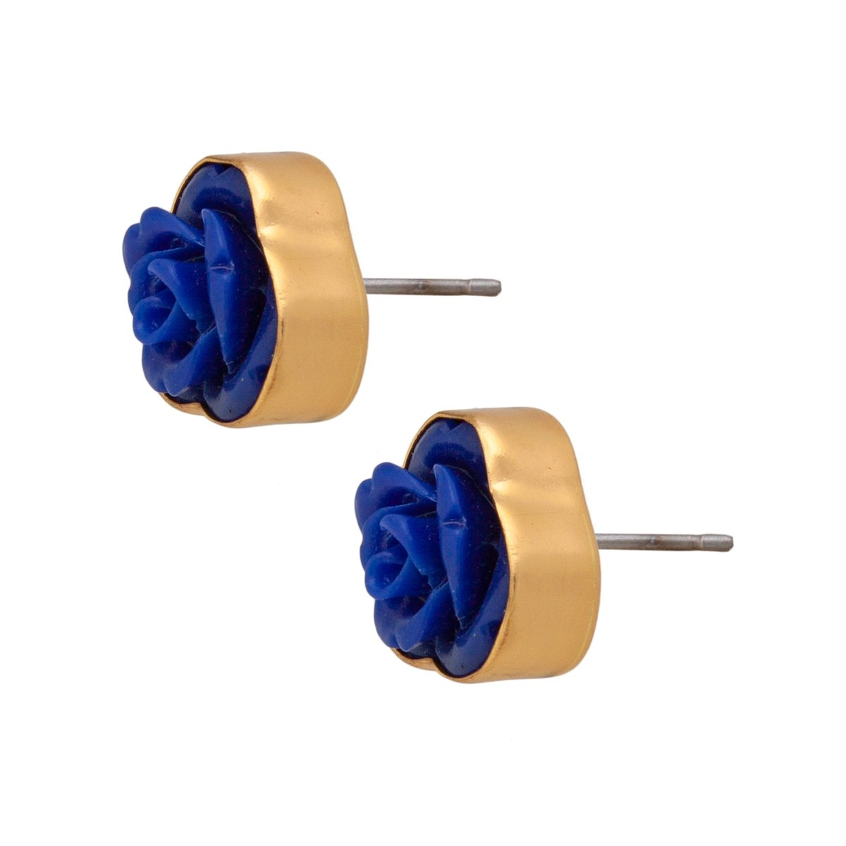 Resin Flower Post Earrings - Royal Blue | Charles Albert Jewelry