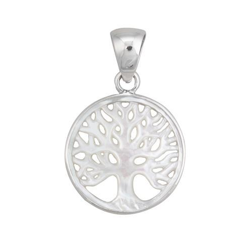 Sterling Silver 30mm Mother of Pearl Tree of Life Pendant | Charles Albert Jewelry