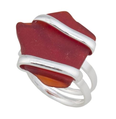 Alpaca Recycled Glass Freeform Rings - Red | Charles Albert Jewelry
