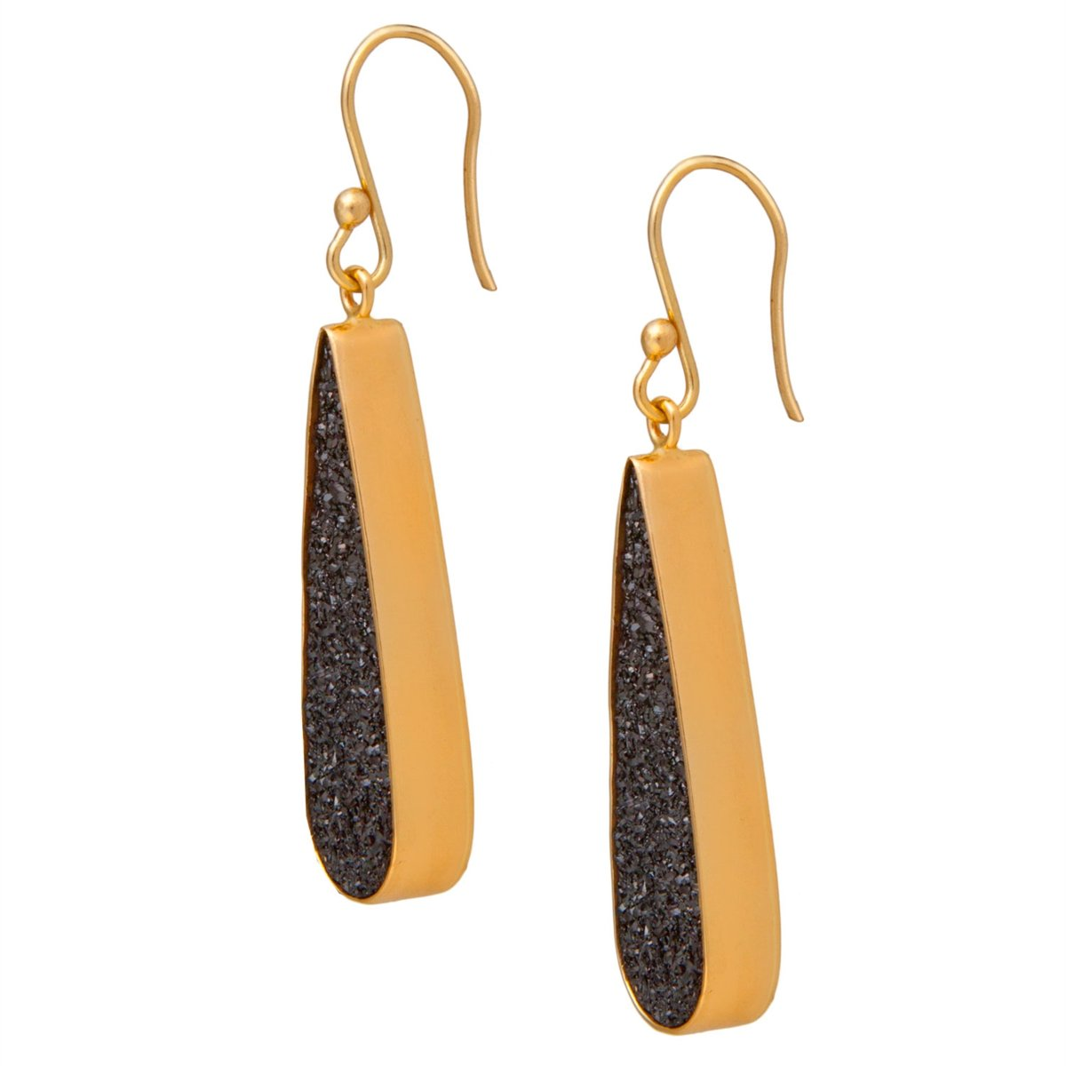 Alchemia Black Druse Teardrop Earrings | Charles Albert Jewelry