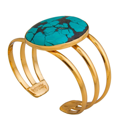 alchemia-oval-turquoise-3-band-cuff - 1 - Charles Albert Inc